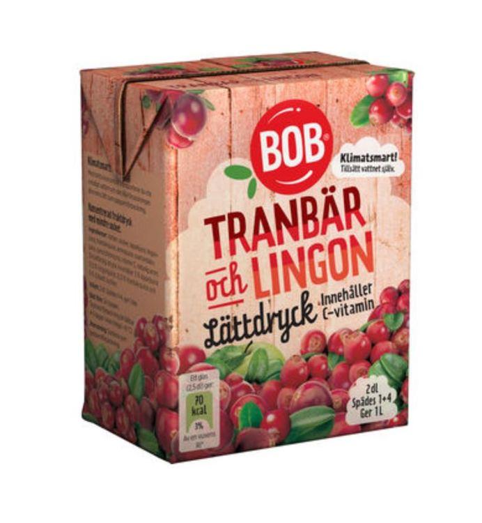 Lättdryck Lingon & Tranbär Saft Bob 2dl
