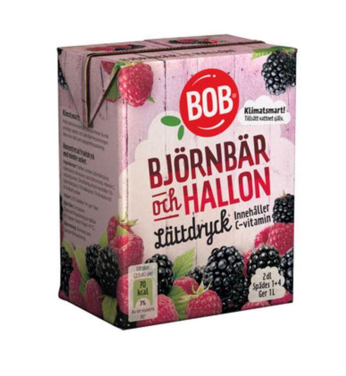 Lättdryck Björnbär & Hallon Saft Bob 2dl