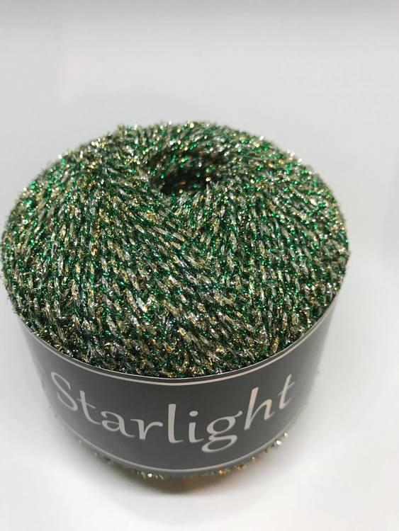 Svarta fåret garn Starlight silver/grön