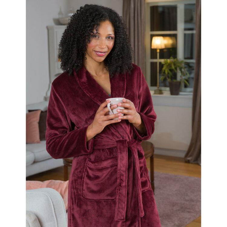 Morgonrock i silk fleece-Trofe