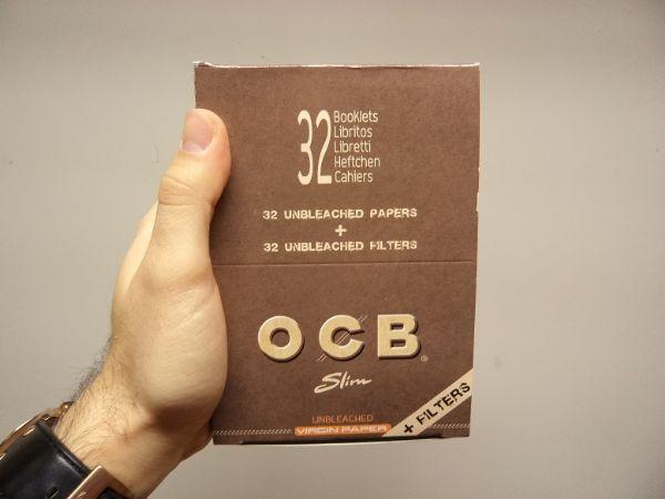 OCB Kingsize Slims+Filter Unbleached DISPLAY (cigarettpapper)