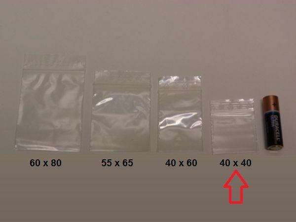 Blixtlåspåsar / Zippåsar: 40x40 mm