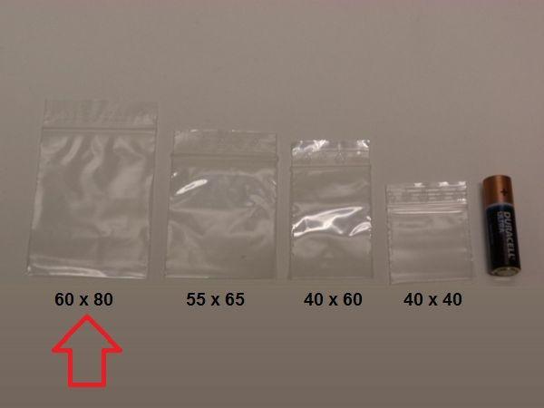 Blixtlåspåsar / Zippåsar: 60x80 mm