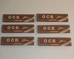 OCB Kingsize Slims+Filter Unbleached 6 st (cigarettpapper)