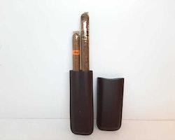Cigarretui för 2 cigarrer (BRUN färg)