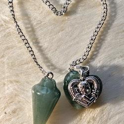 Pendel med Hjärta, i Färgen Ljus Grön