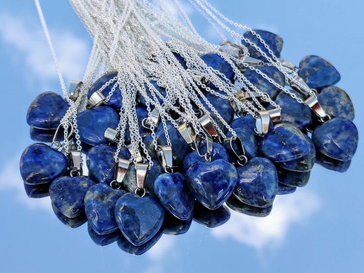 1 st Lapis Lazuli Hjärta med 925 Sterling Silver kedja