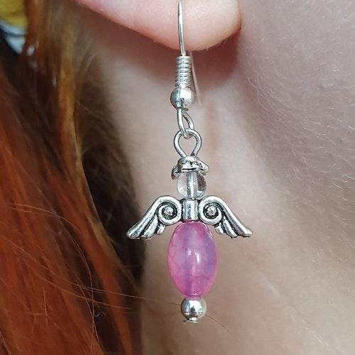 Handgjorda örhängen i rosa onyx