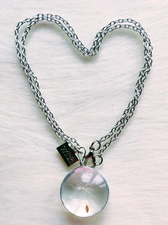 Halsband med maskrosfrö, handgjord diskformad medaljong, halssmycke