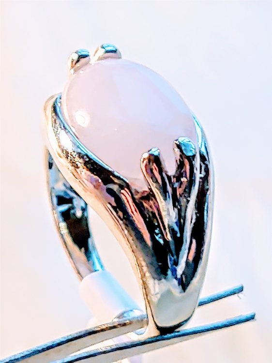 Rosenkvarts Silverpläterad Ring