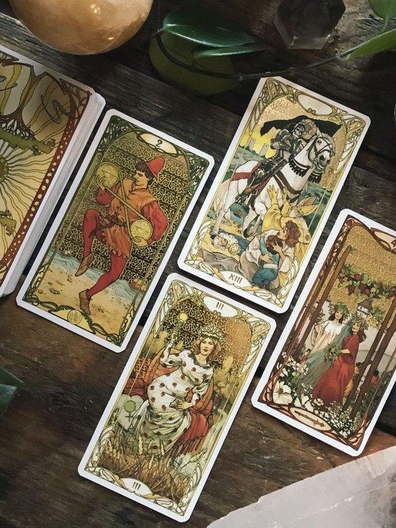 Golden Art Nouveau Tarot Illustrated by Giulia Massaglia