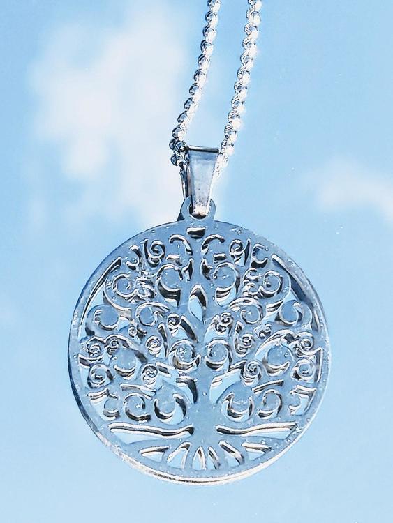 Halsband livets träd mandala i rostfritt stål