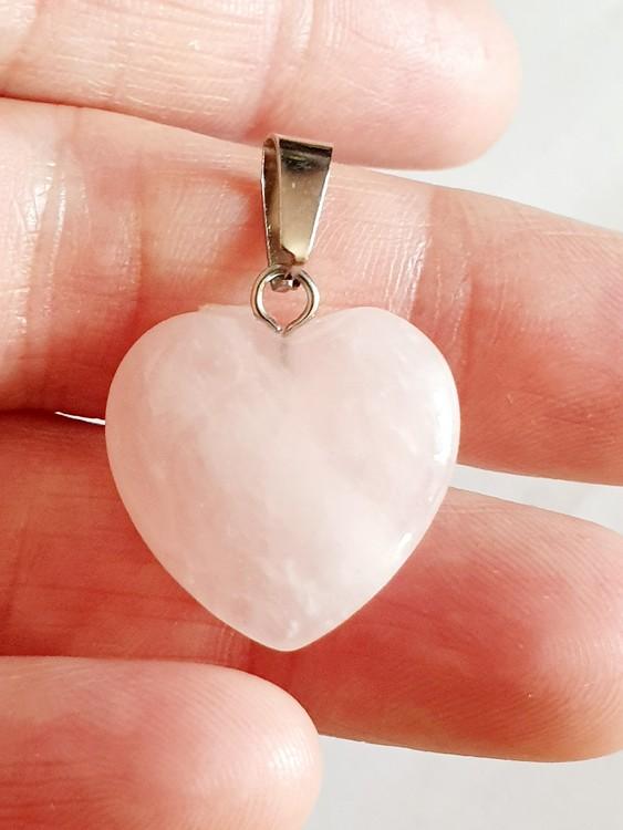 1 st Hänge hjärta i rosenkvarts
