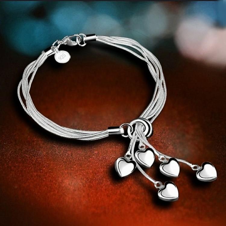 925 Sterling Silver armband med hjärtan