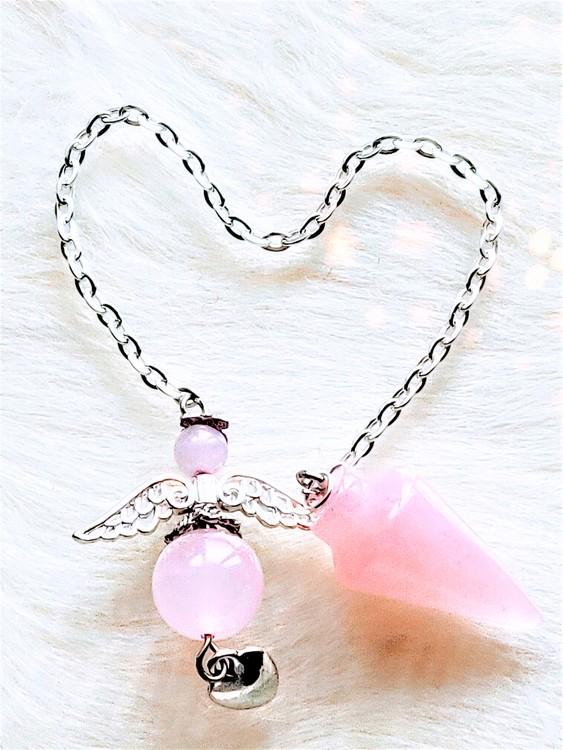 Rosenkvarts pendel med ängel