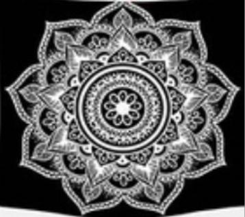Svart & vit mandala tarot bordsduk