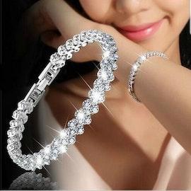 kristall hjärta armband - 18 cm