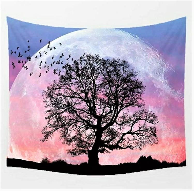 Rosa måne med träd tarot bordsduk väggdekoration