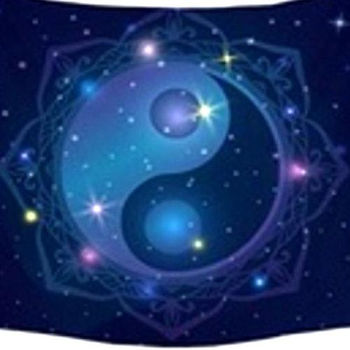 Blå Yin Yang tarot bordsduk väggdekoration