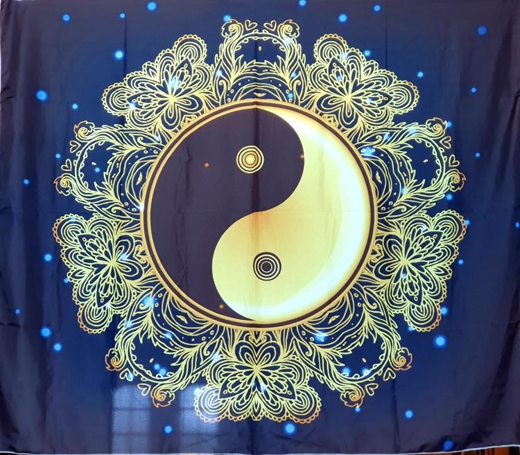 Yin och yang gyllene sol tarot bordsduk väggdekoration