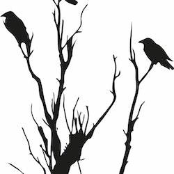 1554 - Gummistämpel minis Träd med kråkor