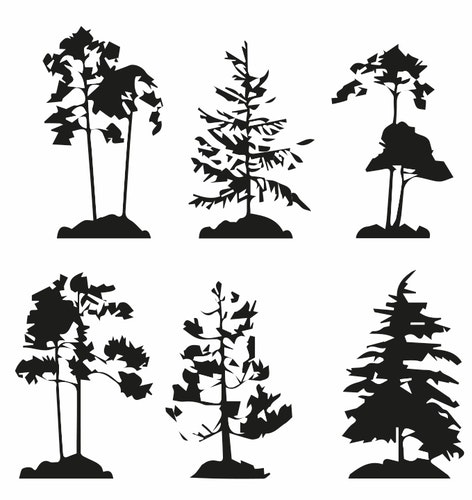 1445-Gummistämpel 6 st olika  Träd