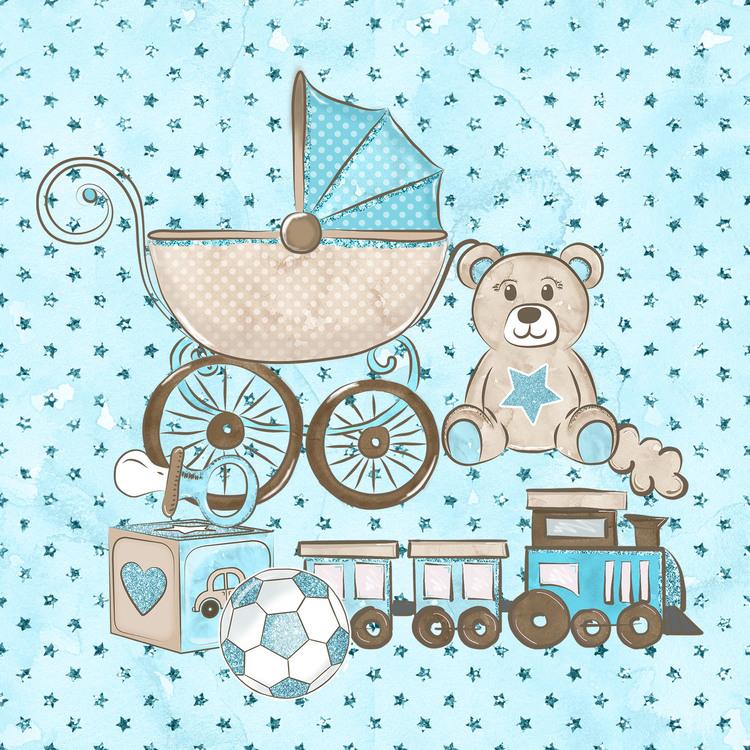 BABY-13   Baby blå 14,5 x 14,5 cm