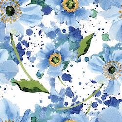 BLÅTT-1 Blommor i akvarell