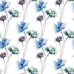 BLÅTT-2 Blommor i akvarell