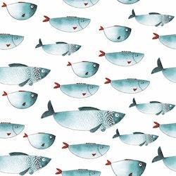 BLÅTT-7 Fiskar i akvarell