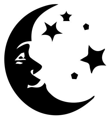 506-Gummistämpel Måne med stjärnor