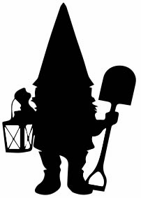 1312 - Gummistämpel Liten  Vätte spade o lykta
