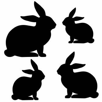 1320 - Gummistämpel  Mini  4 st Kaniner