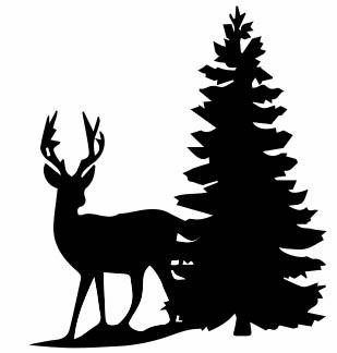 1322 - Gummistämpel Gran m Hjort Liten