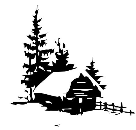 1334 - Gummistämplar Vinterhus m granar
