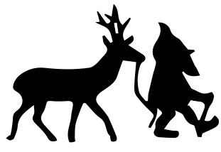 1336 - Gummistämpel Tomte ute o går med en  Ren