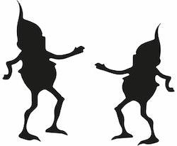 1339 - Gummistämpel 2 Dansande vättar