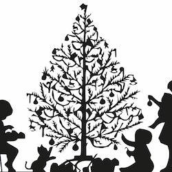 1221 - Gummistämpel Barnen klär granen