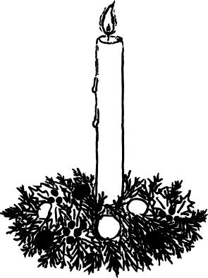 1222 - Gummistämpel Ljus i krans