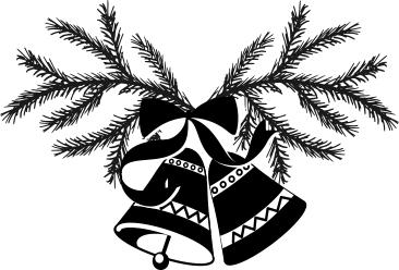 1227 - Gummistämpel Granris med klocka litet motiv