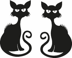 1345  - Gummistämpel 2 st Katter mini