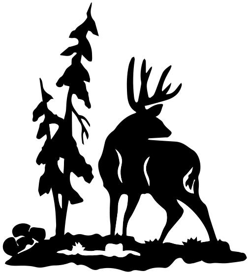 1244 - Gummistämpel  Kronhjort vid träd