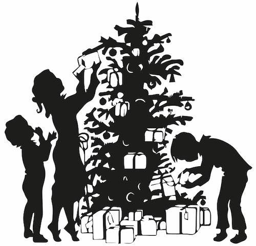 1246 - Gummistämpel klär julgranen