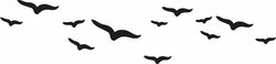 1485-Gummistämpel Flygande fåglar
