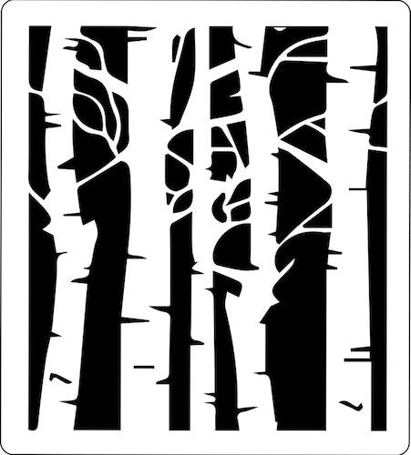 3201-Stencil Lazerdesign Björkstammar