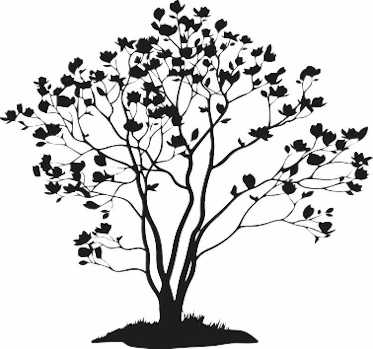 1529-Gummistämpel  minis magnoliträd