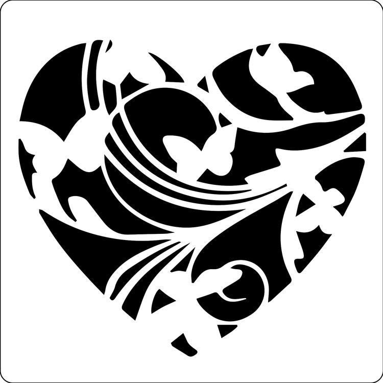 3224 - Stencil Lazerdesign hjärta med fjärilar