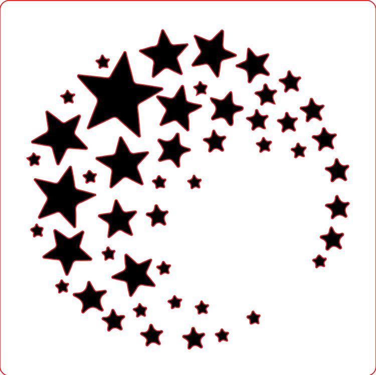3207 - Stencil Lazerdesign stjärnor i ring