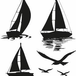 1538-Gummistämpel minis set Segelbåtar och fåglar