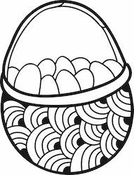 1604 - Gummistämpel Korg med ägg